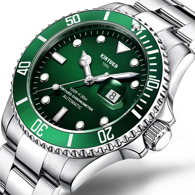KINYUED Top Brand Mechanical Watch Luxury Men Business Stainless Steel Male Watches Clock Gift For Men Wrist Watch J027-Green men luxury automatic mechanical watch fashion calendar waterproof watches men top brand stainless steel wristwatches clock gift
