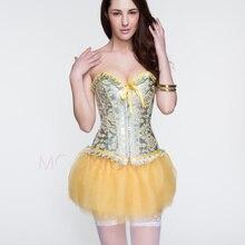 6fe52cefd10 2016 New Yellow Corset Flower Print Corselet Sexy Bustier Women Satin Corset  Push Up Slim Waist