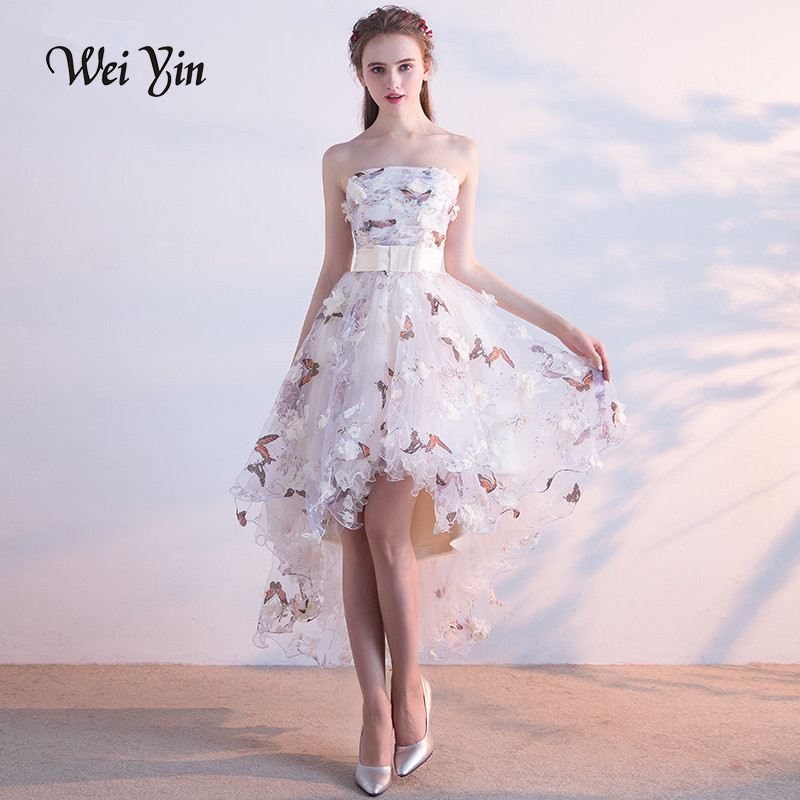 WEIYIN Sexy Strapless   Evening     Dress   High-low Asymmetry Vintage Elegant Flowers Taffeta Prom Gown Dancing Party Prom   Dresses