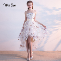 WEIYIN Sexy Strapless Evening Dress High low Asymmetry Vintage Elegant Flowers Taffeta Prom Gown Dancing Party Prom Dresses