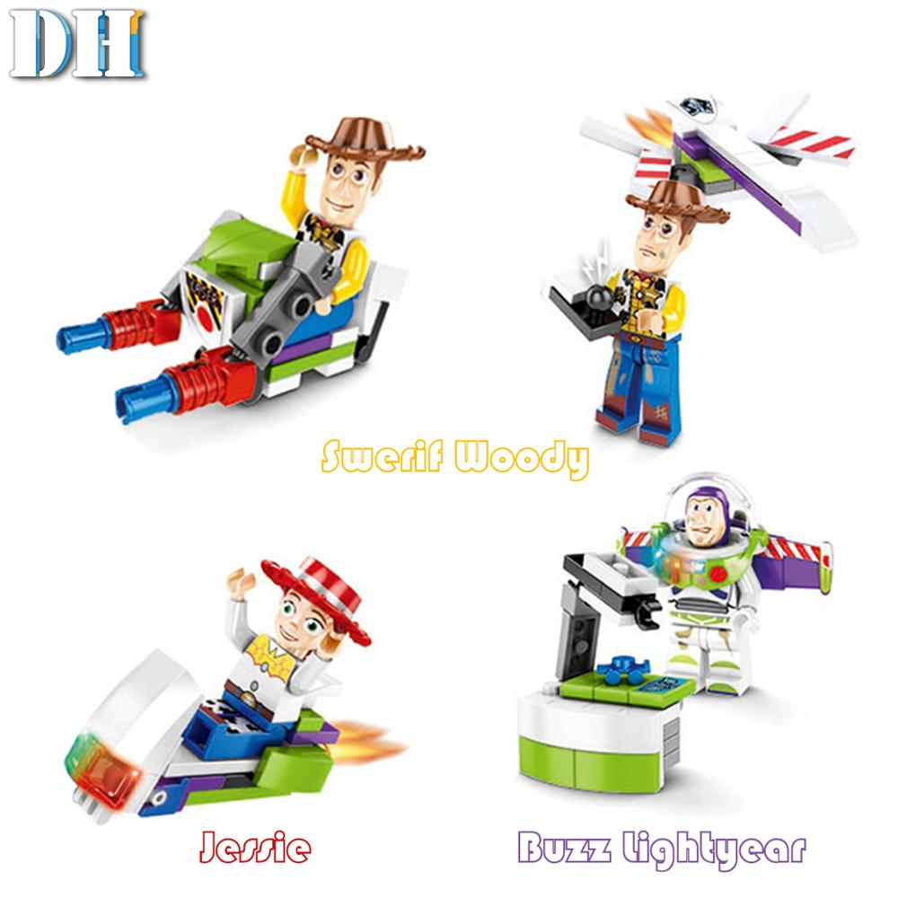 Image 3 - 8 in1 Toy Story 4 Figures Gremlins Gizmo Woody Buzz Lightyear Jessie Andy Super Mario Building Blocks Friend toys-in Blocks from Toys & Hobbies