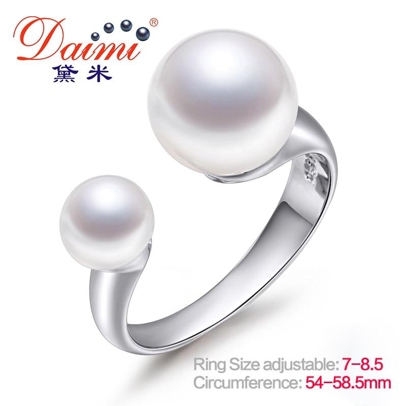 DAIMI márkaépítés Valódi gyöngygyűrű nyílt ezüst gyűrűvel 6-7mm és 9-10 mm-es dupla gyöngygyűrűvel 7. és 8.5