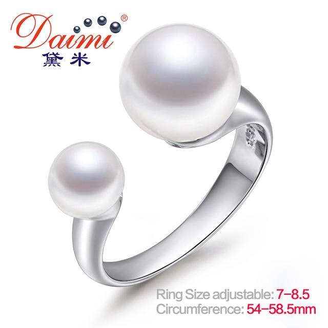 DAIMI Brand Design Genuine Pearl Ring Open Silver Ring 6-7mm & 9-10mm Double Pea