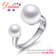 DAIMI Brand Design Genuine Pearl Ring Open Silver Ring 6-7mm & 9-10mm Double Pearl Ring Adjust Size 7 to 8.5