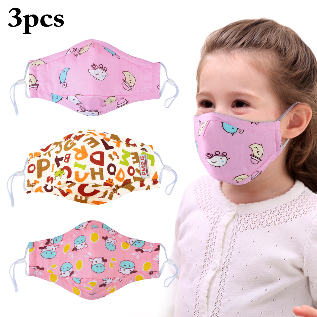 3pcs Children Kids Washable Cotton PM2.5 Anti Dust Mouth Mask Foldable Cute Cartoon Animal Printed Mouth Cover Face Masks