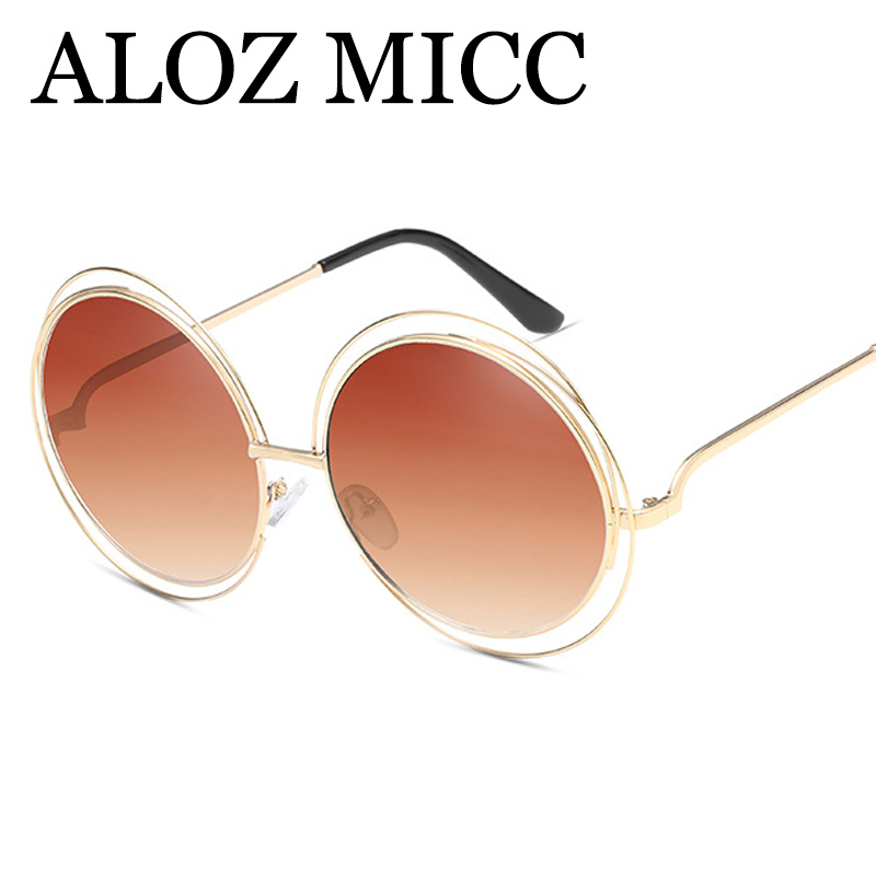ALOZ MICC Brand Oversize Round Sunglasses Women Fashion High Quality Alloy Hollow Frame Sun Glasses UV400 Lady Eyeglasses Q172