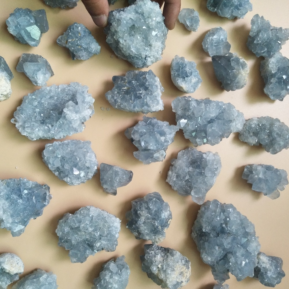 0 2kg and 0 5kg packs Natural celestine stones crystals mineral specimen Feng shui stone in Stones from Home Garden