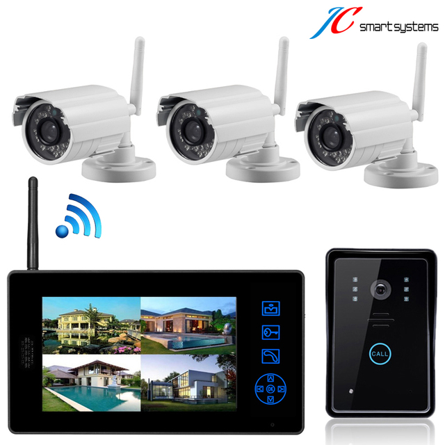 New home secuity CCTV camera system smallest wireless camera night vision waterproof door bell door camera with 7 inch monitor