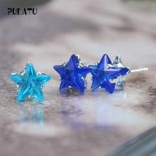 9 Color Hot Sale Star Earring For Girl 8mm Crystal Stud Earrings Geometric Rhinestone Minimalist Women Jewelry PULATU XX888