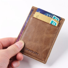 MONOLETH Genuine Leather Brand men mini Vintage dollar price metal clips money holder  money clip wallet ID card  W1012