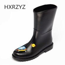 HXRZYZ women ankle rain boots cute cartoon black rubber boots spring/autumn new fashion Slip-Resistant waterproof shoes women