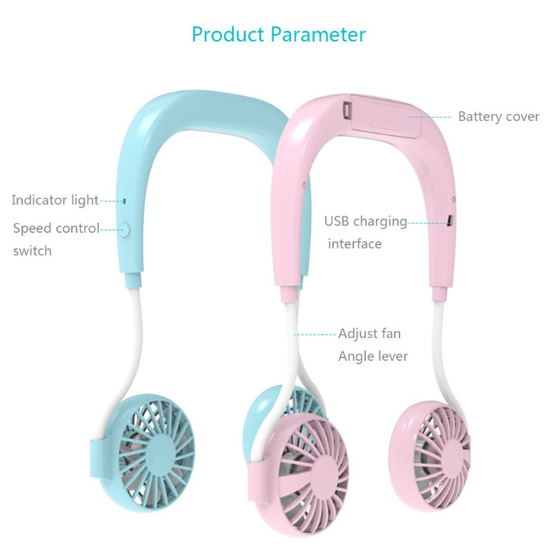 portable hands-free neck band hanging neck fans and mini air cooler for summer