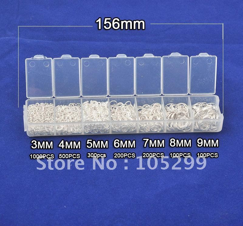 Wholesale Lot 2400pcs 3-4-5-6-7-8-9mm 925 Sterling Silver  Components  Silver Jewelry Findings Jump Rings A Box