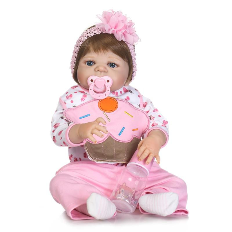 Nicery 22inch 55cm Magnetic Mouth Reborn Baby Doll Hard Silicone Lifelike Toy Gift for Children Christmas Pink Cake Flowers Doll super cute plush toy dog doll as a christmas gift for children s home decoration 20