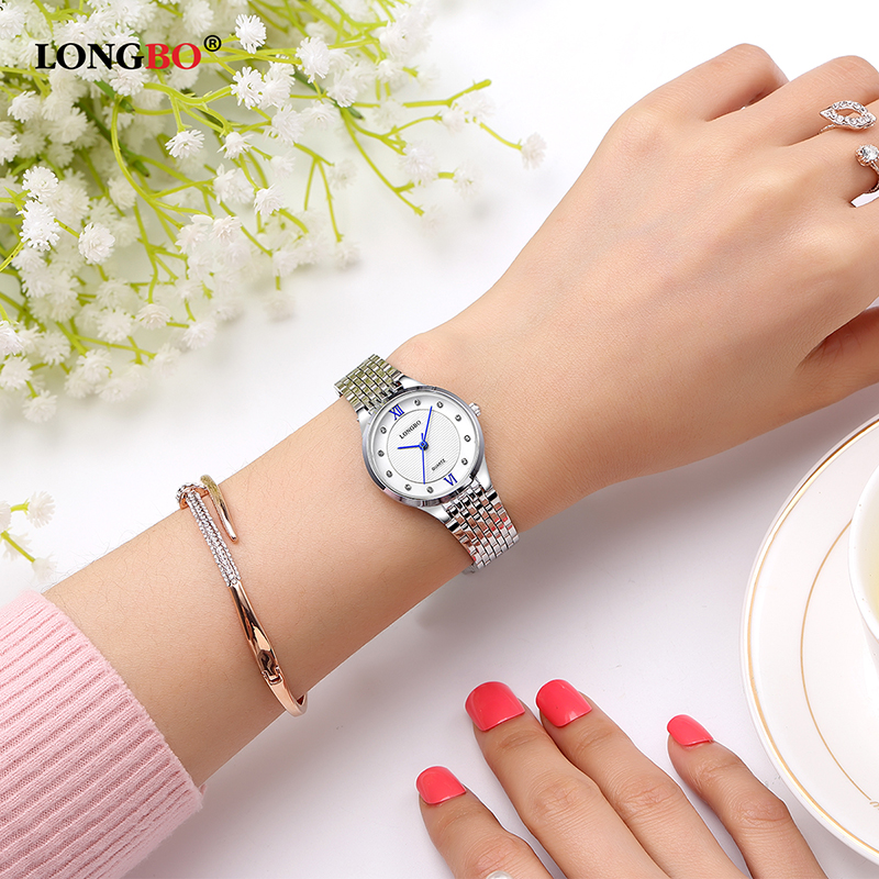 LONGBO Fashion Dress Wrist Watch Women Steel Band Ladies Watches Famous Quartz Watch Female Clock Relogio Feminino Montre Femme big size 40 41 42 women pumps 11 cm thin heels fashion beautiful pointy toe spell color sexy shoes discount sale free shipping