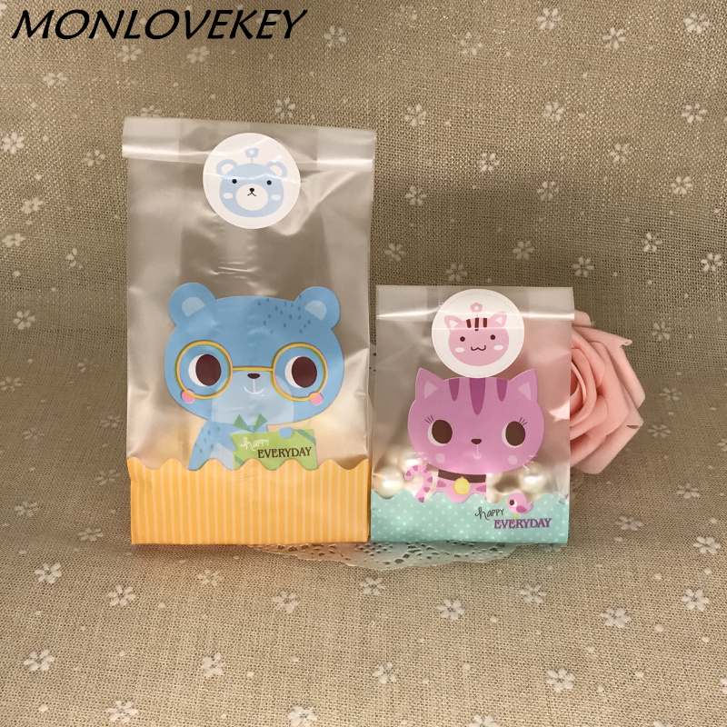 10Pcs/Lot Cute Party Cookie Packaging Lovely Bear Cat Self-Adhesive Candy Box Biscuits Snack Candy Bags Package