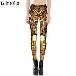 Leimolis 3D imprimé fitness push up jambières d'exercices femmes gothique steampunk gear armure grande taille taille haute punk rock pantalon