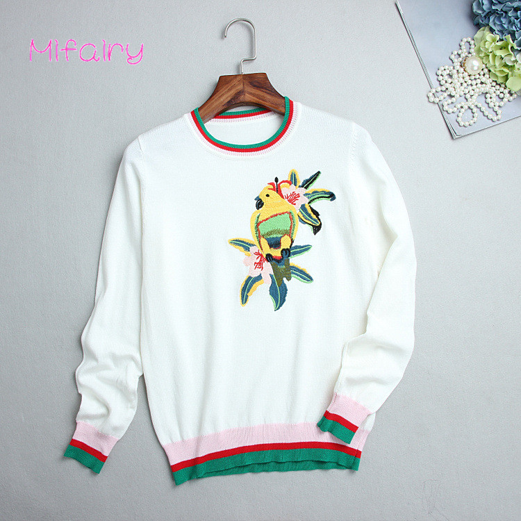 Free Shipping 2017 Black/White Long Sleeves Women's Pullovers Summer Parrot Florals Embroidery Runway Women's Sweaters S017