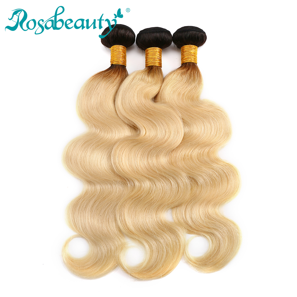 Rosabeauty Ombre Hair Bundles T1b 613 Dark Roots Blonde Hair Weavng Body Wave 100 Remy Human
