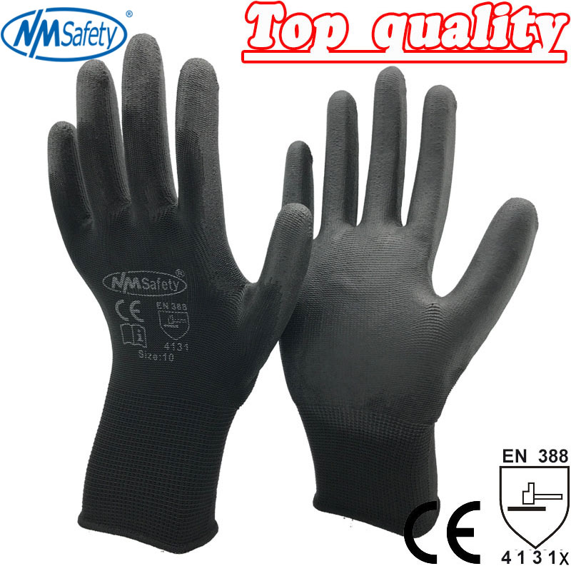 NMSAFETY 12 pairs Cheap Colorful Comfortable Black Polyester Nylon Safety Work Gloves oil free comfortable cheap nitrile gloves white nylon knitted hands protection gloves white mechanic construction industry