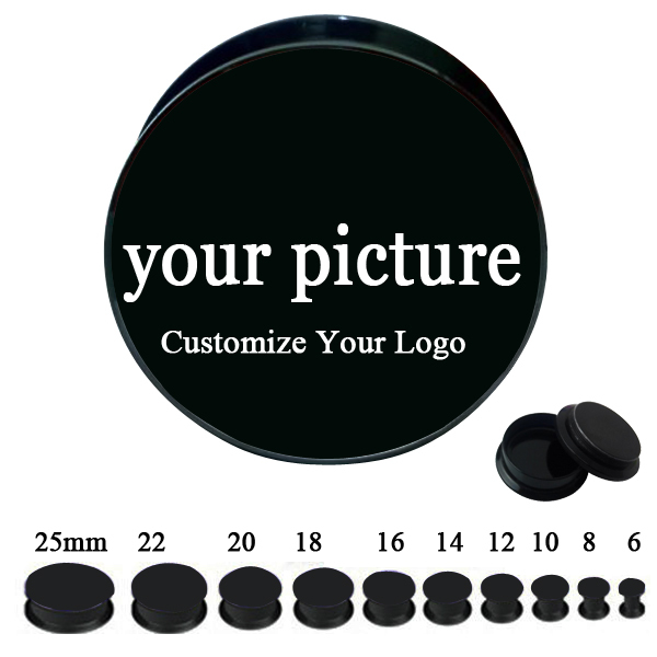 Custom Logo 60PCS Lot Mixed 10 Sizes 6MM 25MM Screwed On Fit Ear Plug Tube Flesh