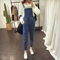 Brief Denim Blue Women Overalls Top Quality Girls Stretchable Skinny Suspender Long Pants Casual Female Romper