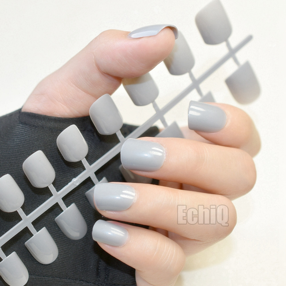 Sale Fashion Grandma Gray Grey False Nails Square Head Fake Nail ...