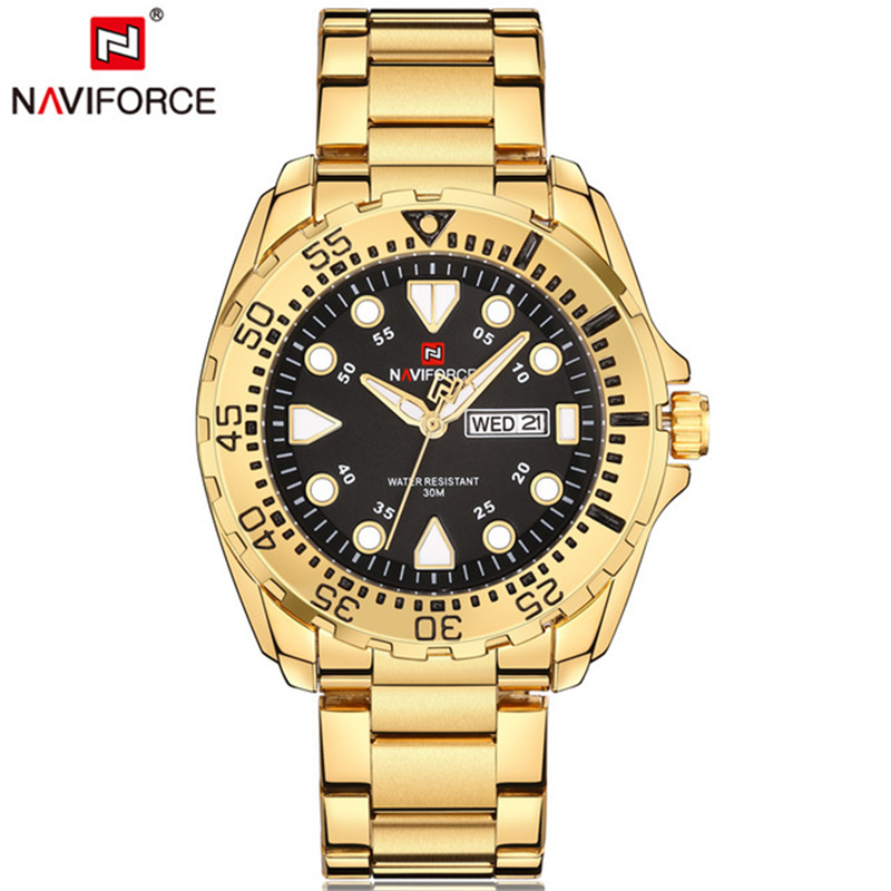 relogio masculino NAVIFORCE Luxury Brand Men Sport Watches Mens Quartz Analog Clock Man Military Waterproof Full Steel Watch Men top brand luxury watch men full stainless steel military sport watches waterproof quartz clock man wrist watch relogio masculino