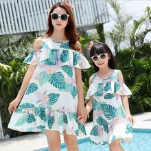 Beach Dress Mommy and Me Clothes Ruffled Mother Daughter Dresses Family Look Off Shoulder Mom Girls Matching Outfits