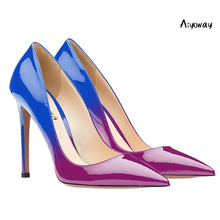 Aiyoway Women Shoes Ladies Autumn Spring Pointed Toe High Heels Pumps Gradient Clubwear Party Dress Slip On Big Thin
