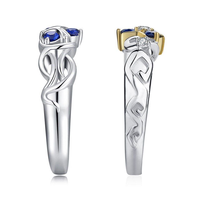 Pair-Ring Ocarina Zelda Legend Time-Engagement Silver-Color Women Crystal Blue High-Quality