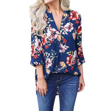 358cea5940699 Plus Size 2XL Cold Shoulder Tops Womens Tops and Blouses V Neck Printed  Blouse Loose Three Quater Sleeve Shirt T Blusa Feminina