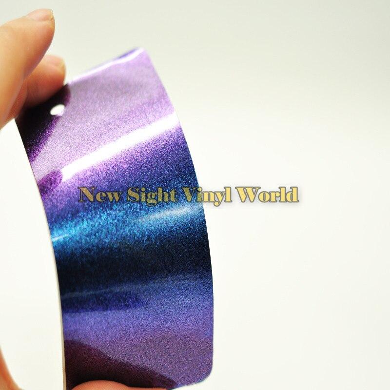 3 Layers Purple Blue Glossy Chameleon Diamond Glitter Vinyl Wrap Film Bubble Free For Auto Size:1.52*20M(5ft X 65ft)