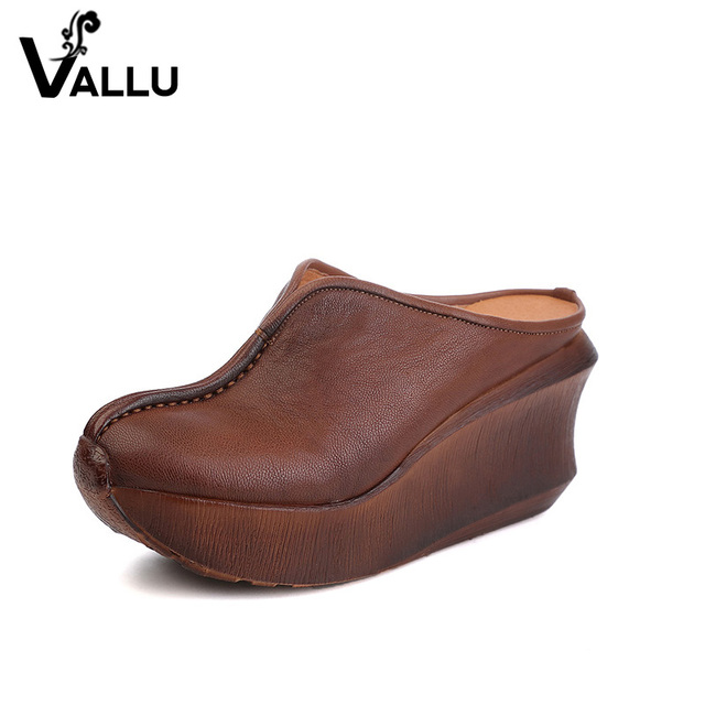 Wedges Slippers Women 2017 Slides Sandals Shoes Women Genuine Leather Closed Toe Handmade Comfortable Women Flat Shoes