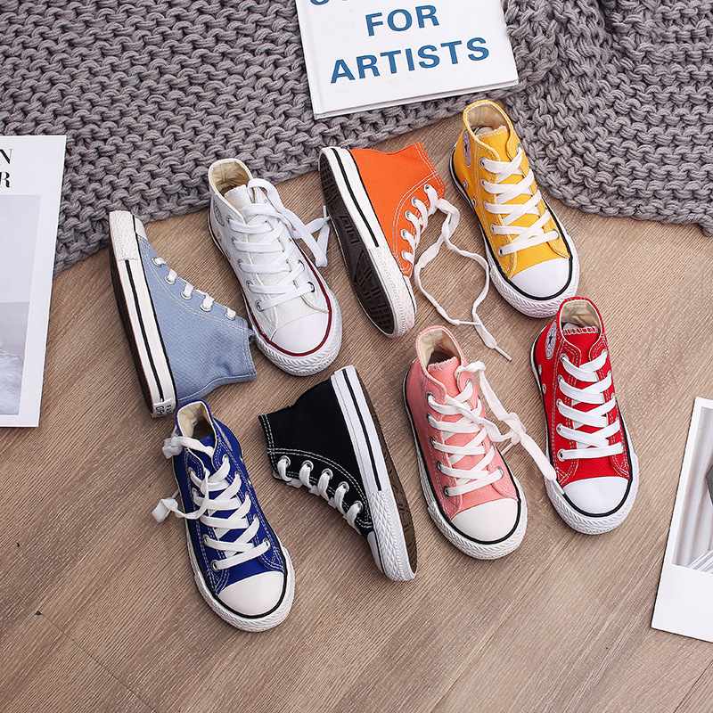 Spring Autumn High Top Sneakers Girl Child Shoes 13 Colors Toddler Boy Sneakers Baby Kids Canvas Star Sneakers Shoes For Kids