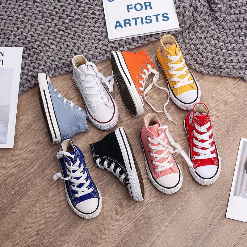 Baskets montantes en toile pour enfants | Chaussures de printemps et dautomne pour filles, Sneakers de 13 couleurs, baskets pour tout-petits et garçons