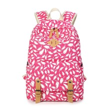 Youth Backpacks For Teen Girls Feathers and Dots Canvas Backpack Feminine Backpack Female School Bagpack Girl Mochila Femininal