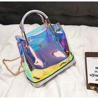 Women Handbag Laser Hologram Leather Shoulder Bag For Lady Single Shopping Bags Large Capacity Casual Tote Satchel Bag Chain Bag