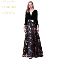 Black Mother of the Bride Dresses Long Sleeves 2018 Floor Length Wedding Party Evening Gown