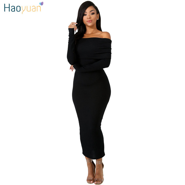 c8fc1da05ff HAOYUAN Autumn Winter Off Shoulder Dress Black Brown Women Bodycon Maxi  Dress Long Sleeve Elegant Sexy Knitted Party Dresses