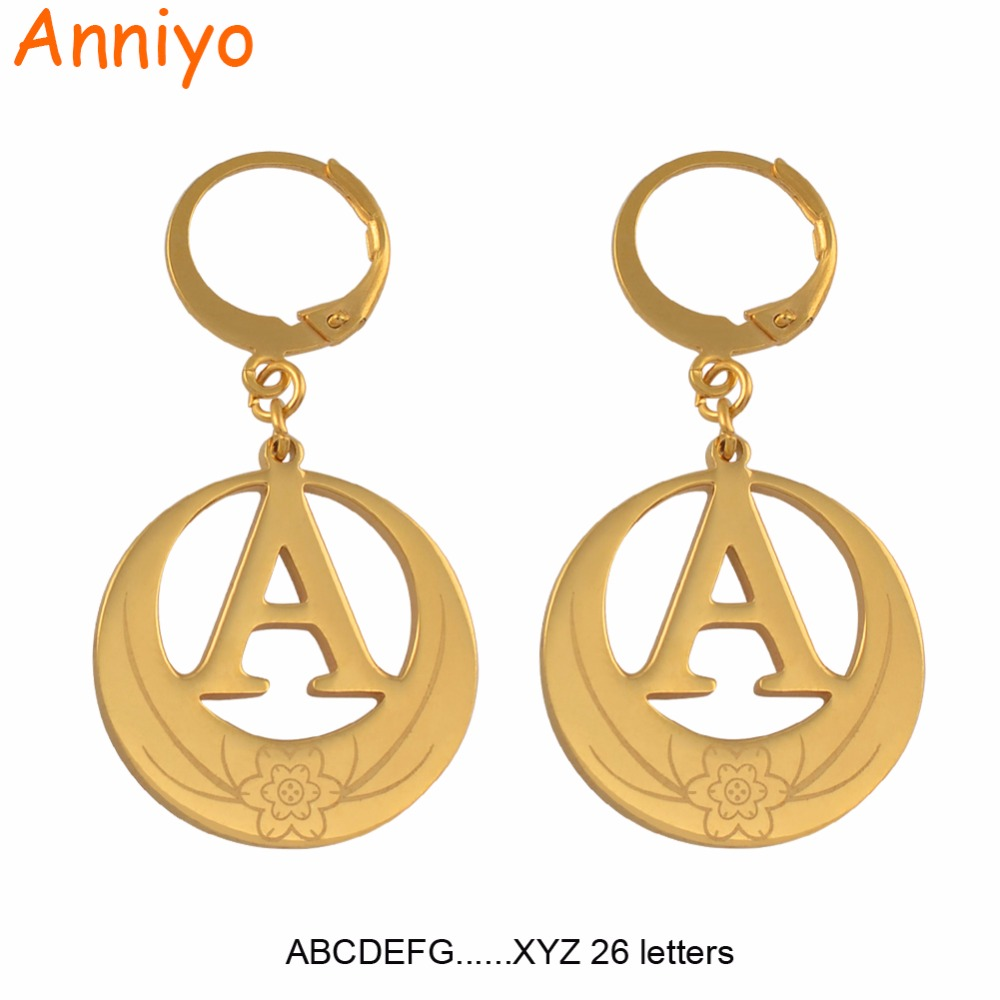 Anniyo A-Z 26 Letters Earrings Initial for Women Girls Kiribati Alphabet Earring Gold Color English Letter Jewelry Gifts #047921 beurself oversized capital initial necklace custom name large 26 letters alphabet punk style gold color alloy jewelry for women