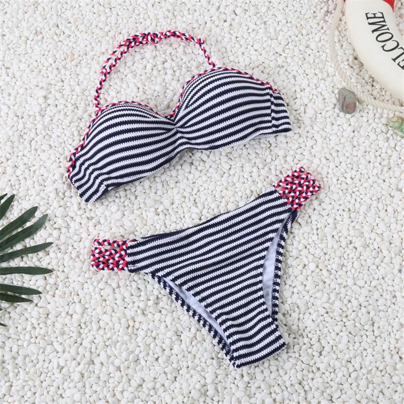 Sexy Swimsuit 2016 Handmade Crochet Bikini Set Navy Blue Swimwear Women Striped Brazilian Biquini Halter Bathing Suit Maillot page swimsuit sw0670 navy mult