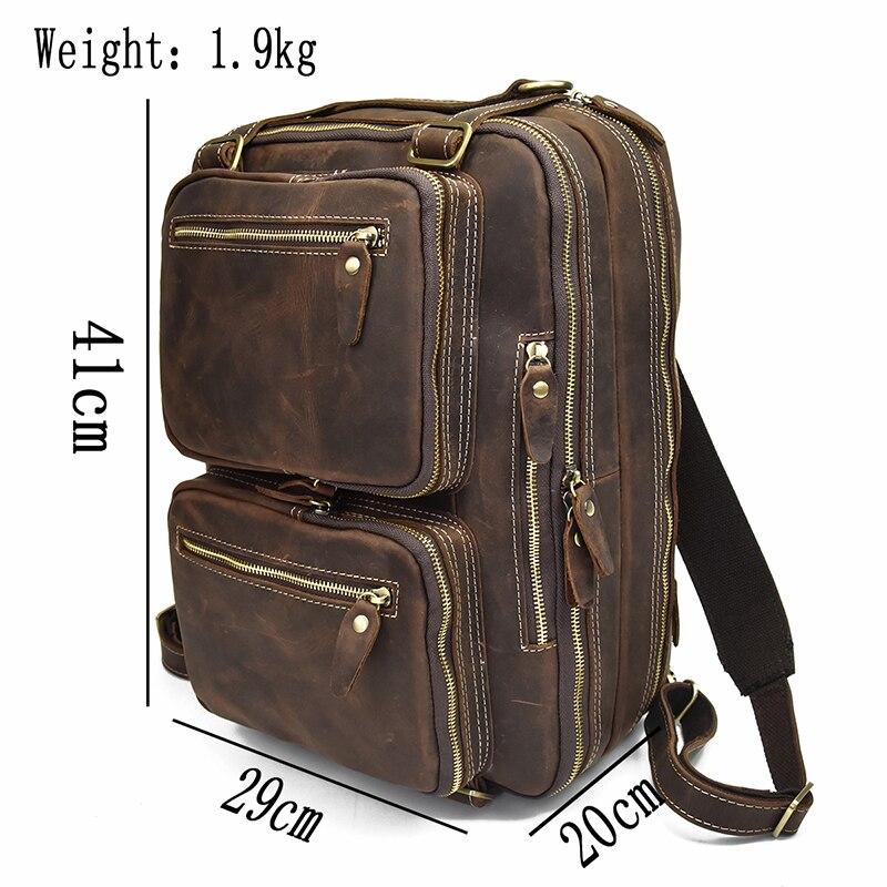 더블 pc 포켓 정품 가죽 laotop 핸드백 가죽 비즈니스 가방 2 사용 어깨 가방과 남자의 미친 말 가죽 서류 가방-에서서류 가방부터 수화물 & 가방 의  그룹 2