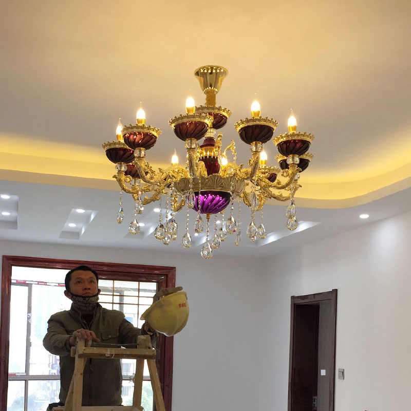 Золотая люстра для отеля освещение художественная люстра из фиолетового стекла светодиодные люстры де Кристальный свадебный свет винтажная столовая Lamparas