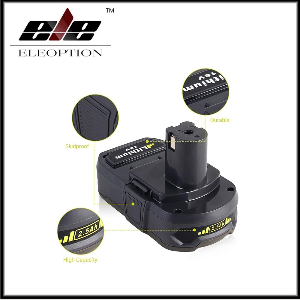 Batterie Rechargeable Eleoption 18 V 2500 mAh Li-Ion pour Ryobi RB18L25 One Plus pour outils électriques remplacer P103, P104, P105, P108