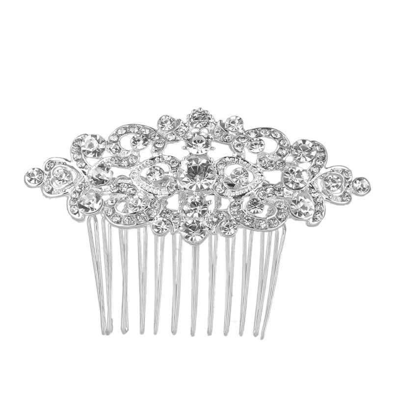 Sparkling Rhinestone Crystal Floral Heart Hairpins Silver Color Wedding  Tiara Bridal Hair Combs Women Wedding Hair e2f8a654cdd3