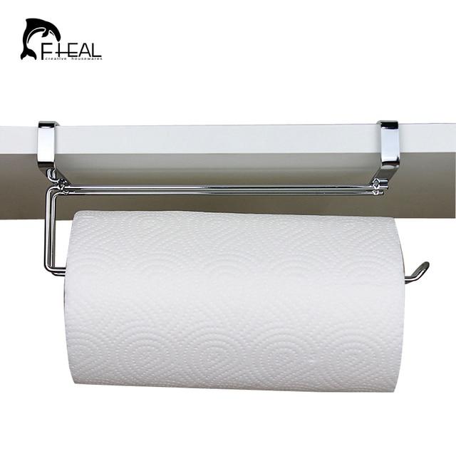 US $11.57 19% OFF|FHEAL Edelstahl Küche Rolle Papier Halter Bad Handtuch  Organisieren Hängen Rack Schrank Schrank Tür Lagerung Haken Halter in ...