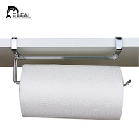 FHEAL Stainless Steel Kitchen Roll Paper Holder Bathroom Towel Organize Hanging Rack Wardrobe Cupboard Door Storage