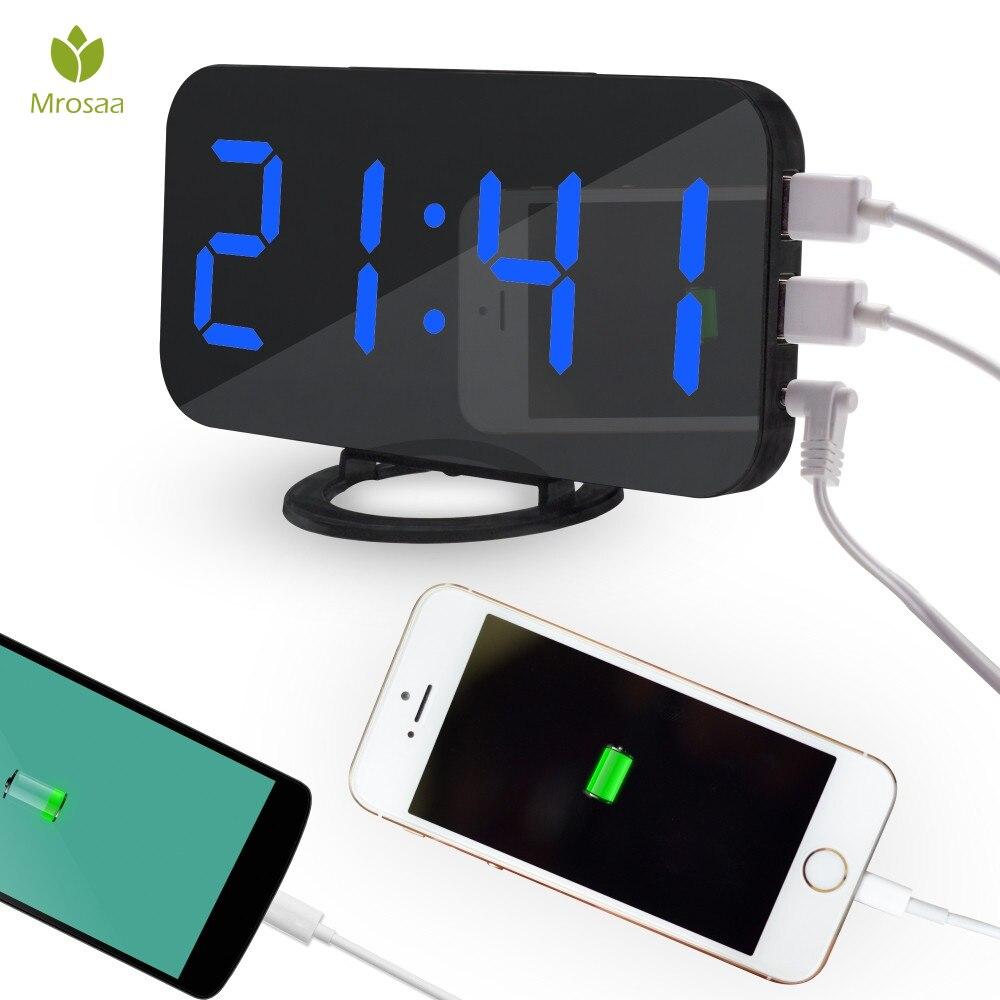 Mrosaa Wireless Electronic LED Digital Alarm Clocks Desktop Decoration Auto-Brightness-Adjust Alarm Snooze Table Clock with USB