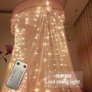Image 2 - 3x3m 300 led ストリングの妖精ライト結婚式のガーデンパーティー led カーテン装飾クリスマス花輪ライト文字列の led ライト装飾